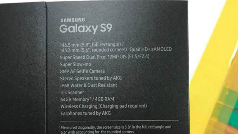 Spesifikasi Samsung Galaxy S9 versi Boks Penjualan