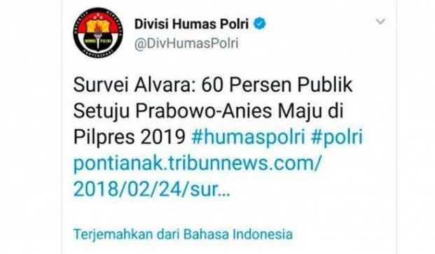 Mabes Polri Pastikanlah Akun Twitter @DivHumasPolri Di Retas