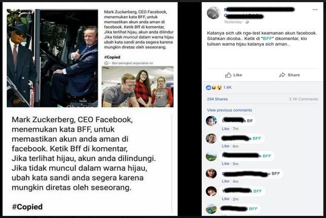 Benarkah Mengetik BFF Di Kolom Komentar Facebook Bisa Untuk Mengecek Keamanan Akun, Ini Penjelasanya